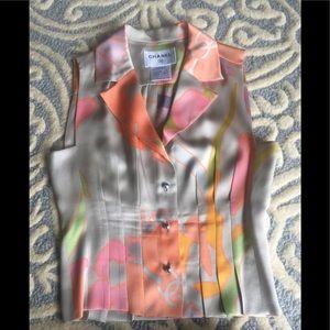Chanel sleeveless Blouse top Silk Logo authentic
